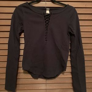 FREE PEOPLE black lace up long sleeve